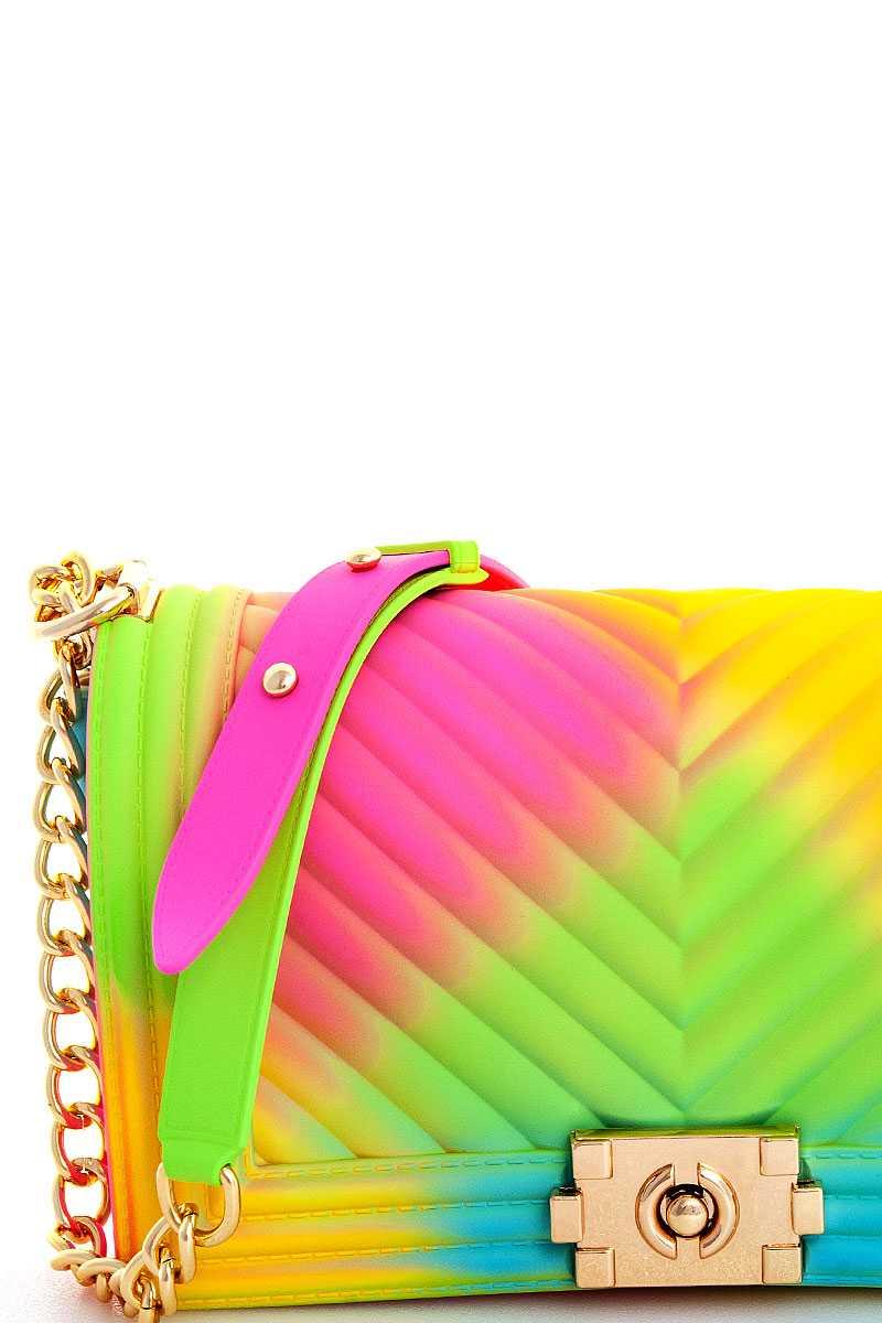 B7049yi N Trendy Rainbow Color Tender Jelly Shoulder Bag