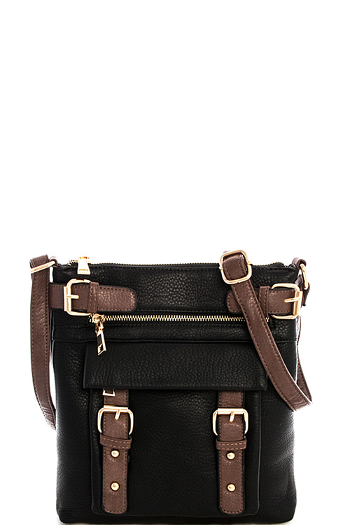 8535n black fashion multi pocket trendy crossbody bag