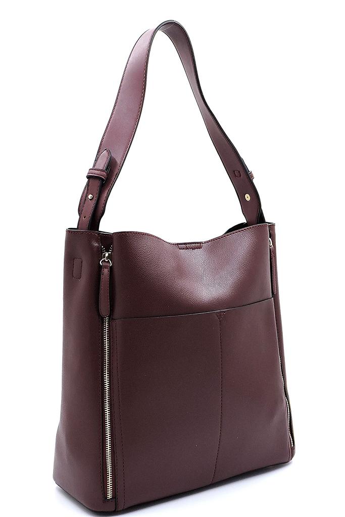 9cffebd36c B87927-Z BURGUNDY Fashion Zipper Front Pockets Shoulder Bag Hobo