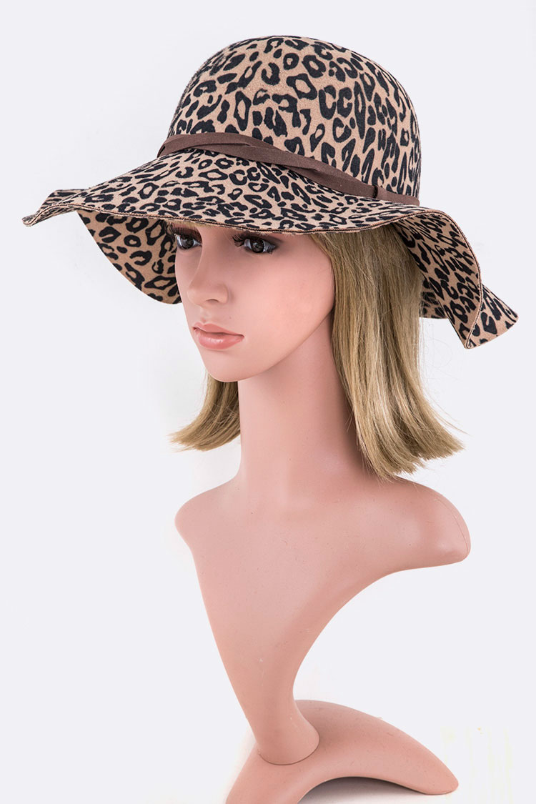 1b068126a A3115 BROWN Leopard Print Faux Felt Floppy Hat