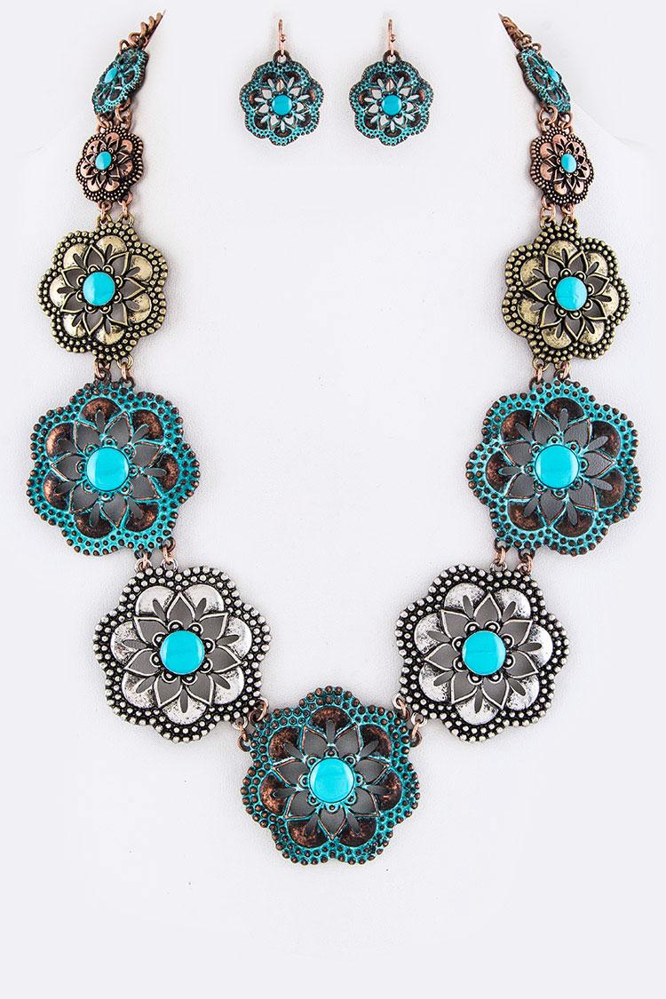Aan1290 Multi Turquoise Lotus Flower Necklace Set