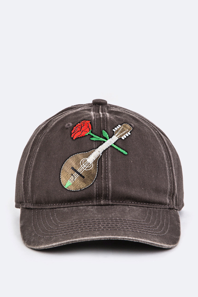 6531f8d9169 AEMH8637 RED Guitar   Rose Embroidery Cotton Cap