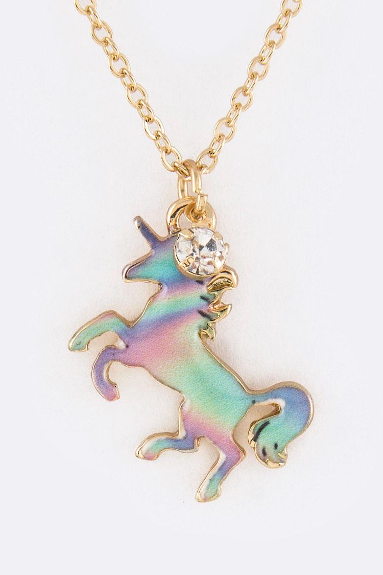 Aes1518 Multi Unicorn Pendant Necklace Set