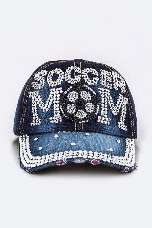 0d493bb34d9 AHT277X054 DARK JEAN Crystal SOCCER MOM Embellished Fashion Denim Cap