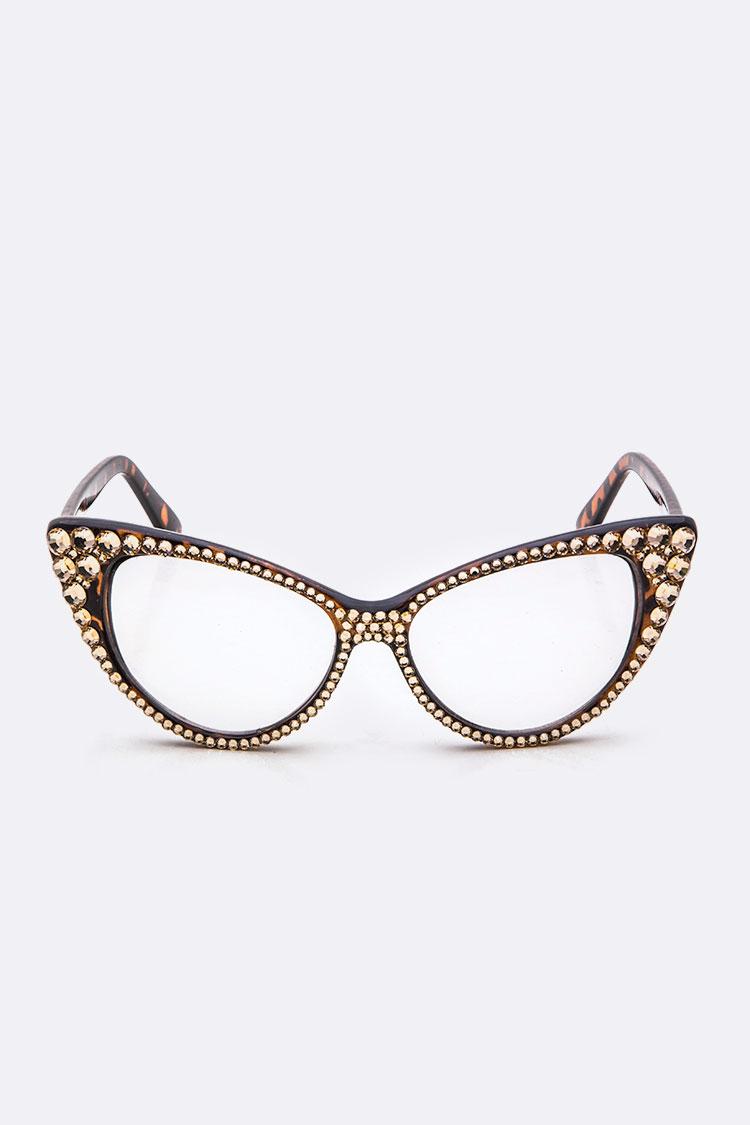 86f58885d0 AMSG591-1 TORTOISESHELL Crystal Ornate Optical Cat Eye Glasses