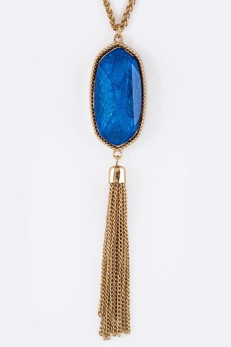 ANE0188PR BLUE Resin Stone & Chain Tassel Necklace Set