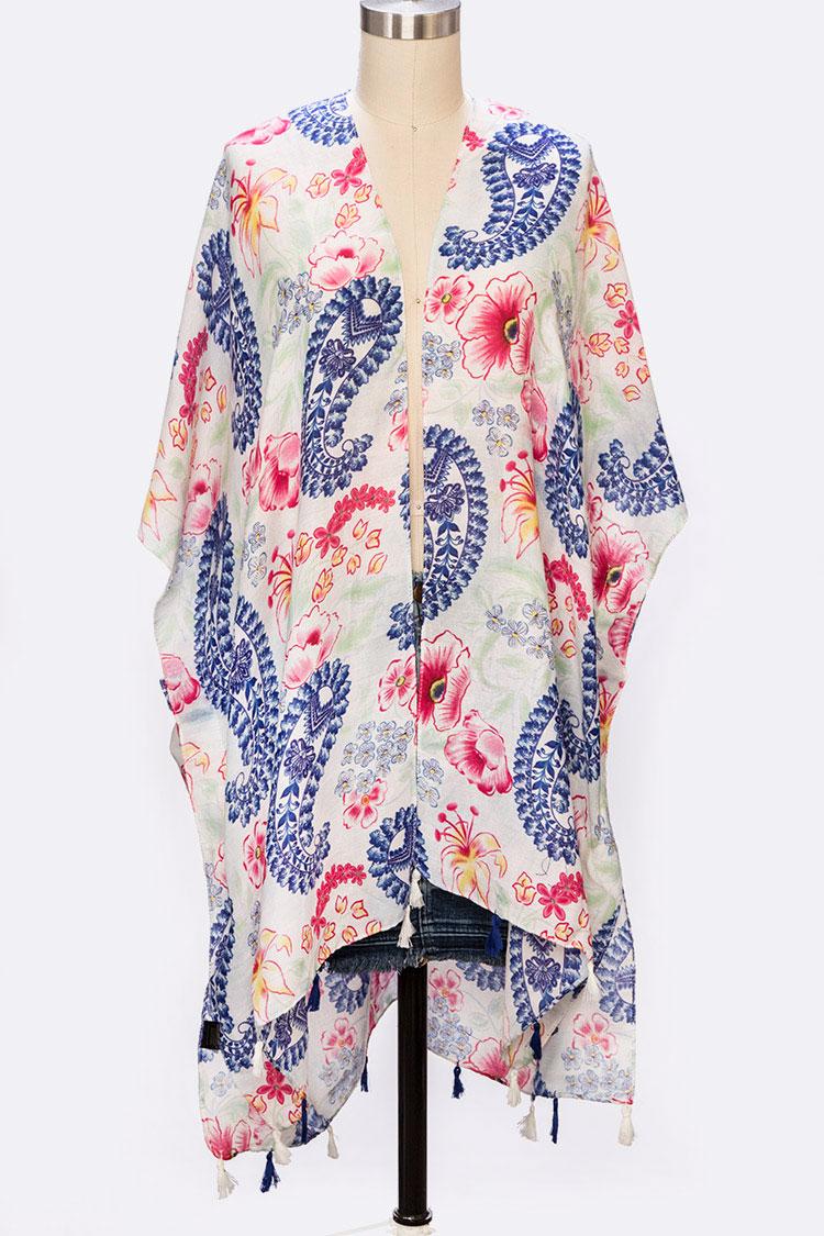 1ed9cef00 ASCA035 WHITE Paisley Print Tassel Spring Kimono Cardigan