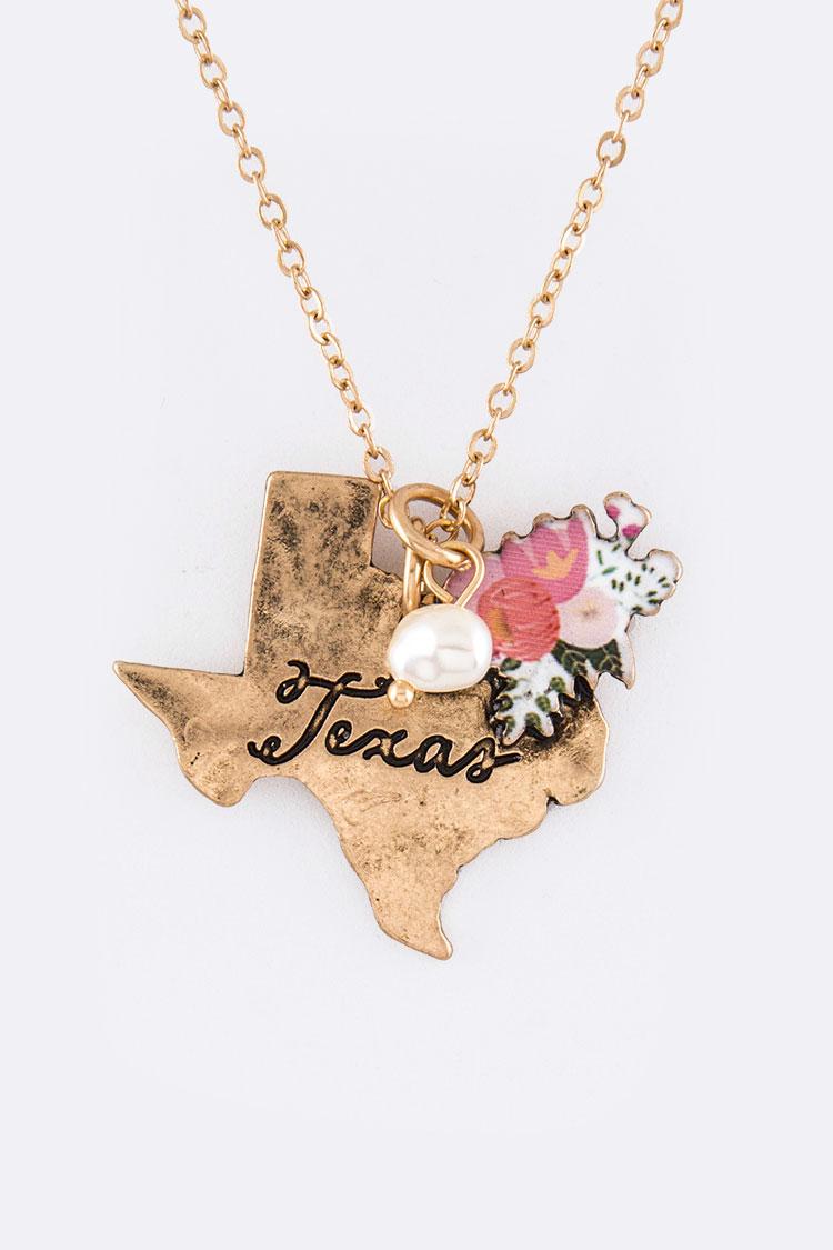 ASS0641 GOLD Texas Map Pendant Necklace Set