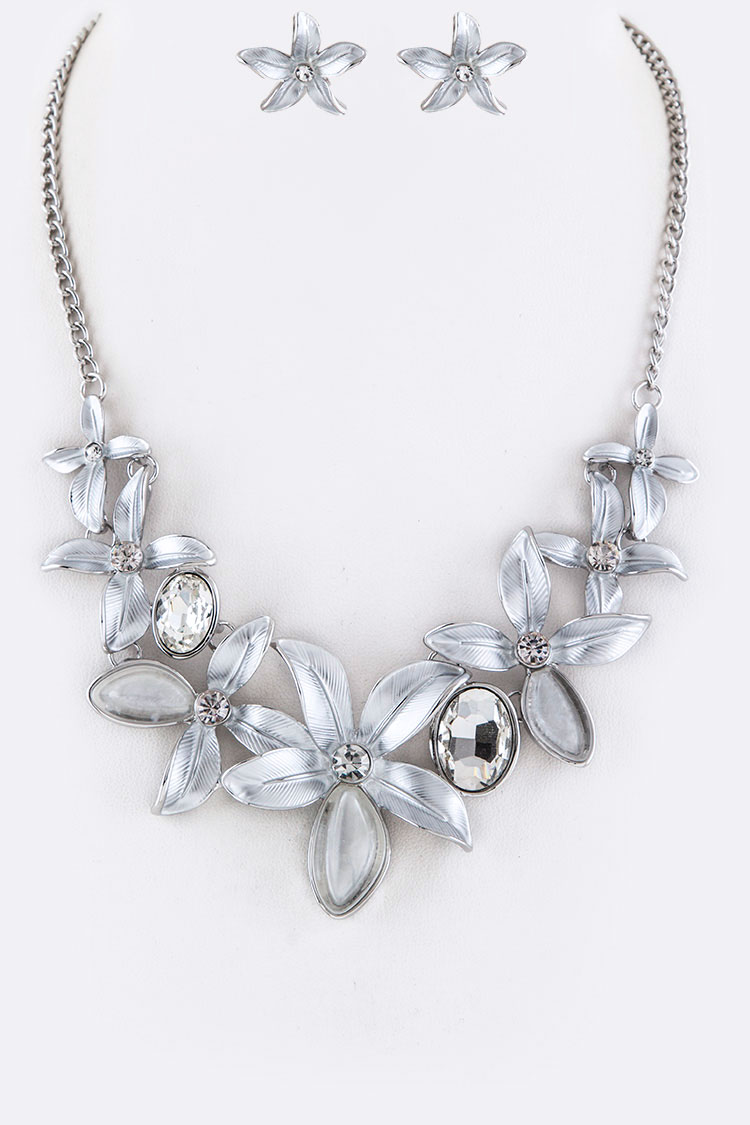 Ayne3420 white crystal flowers statement necklace set white mightylinksfo