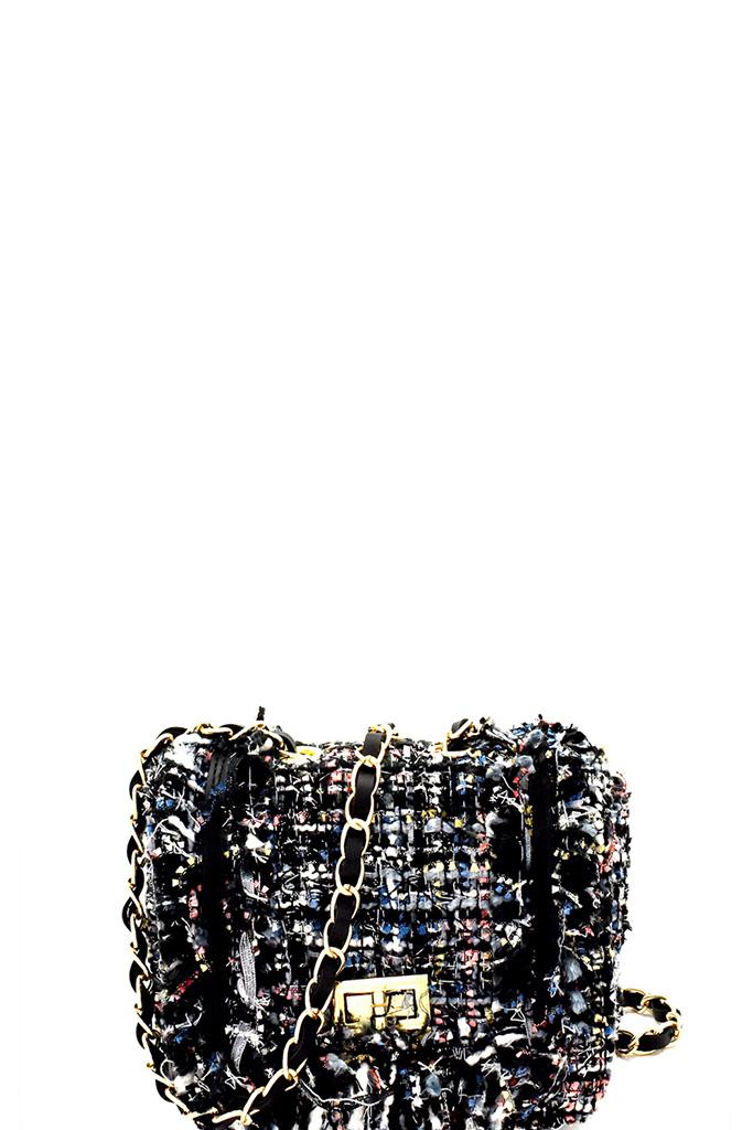 e61bad011aa198 B1298D-P BLACK Tweed Turn-lock Flap Chain Shoulder Bag