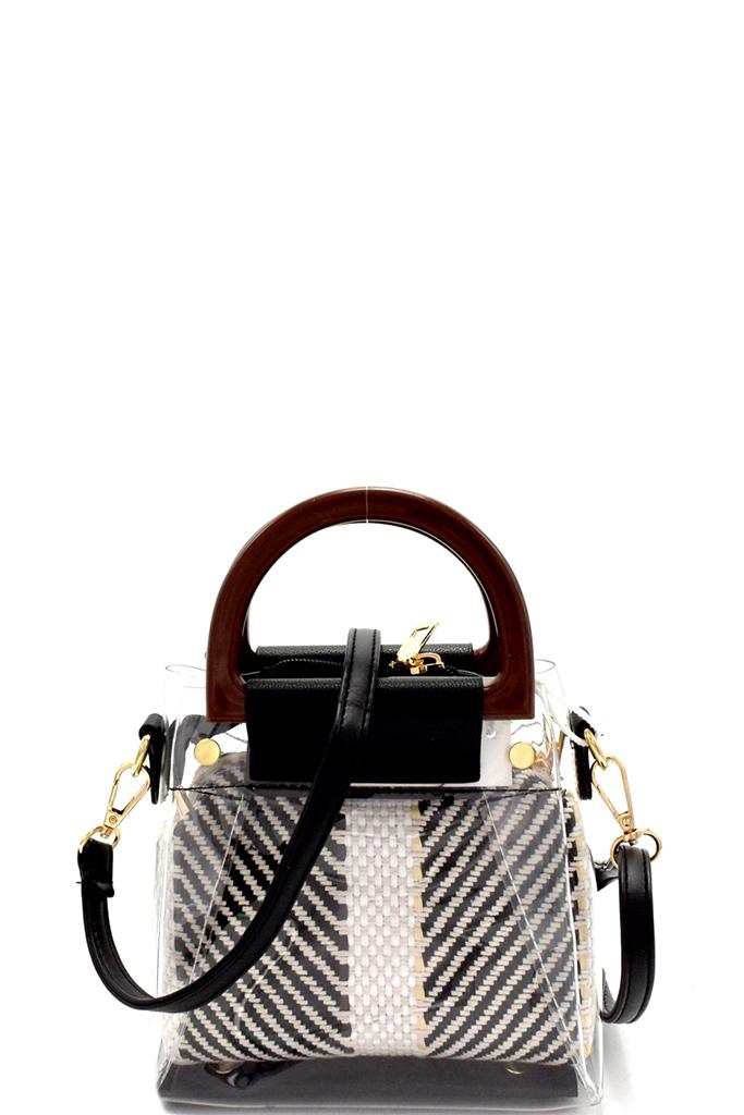B8606 6 P Black Wooden Handle 2 In 1 Clear Transparent Shoulder Bag