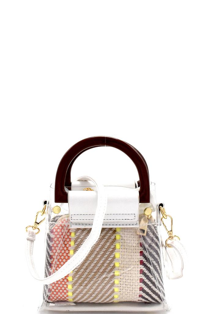 B8606 6 P White Wooden Handle 2 In 1 Clear Transparent Shoulder Bag