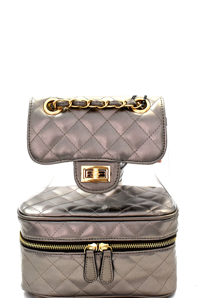 8a0b5292b09 BCC7029-P Champagne Transparent Clear Turn-Lock Accent Quilted Backpack