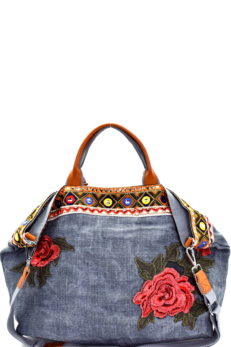 f8d187f163f BCJF024-Z BLUE Flower and Ethnic Embroidery Folded Corner Linen Tote