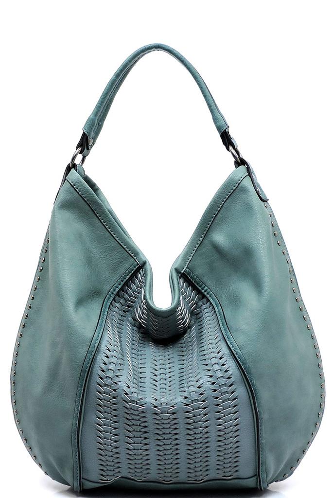 Bcjf044 Z Teal Weaved Block Shoulder Bag Hobo