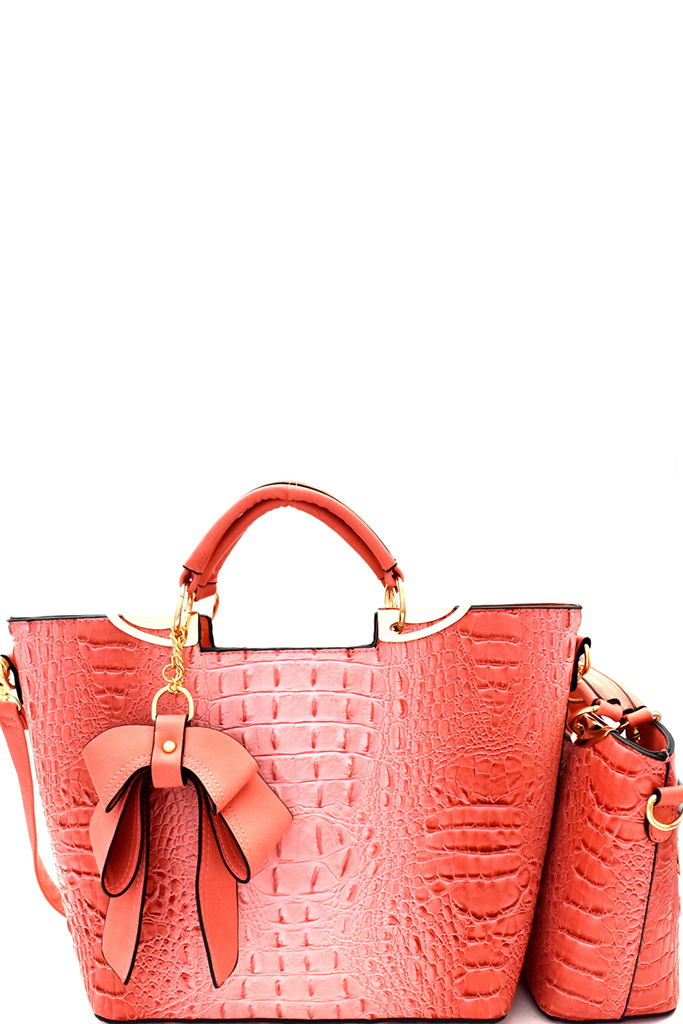 f35abdc344 Crocodile Embossed Bow Charm Accent 2 In 1 Twin Satchel Set. Home · Fashion  Handbags · Please upgrade to full version of Magic Zoom Plus™