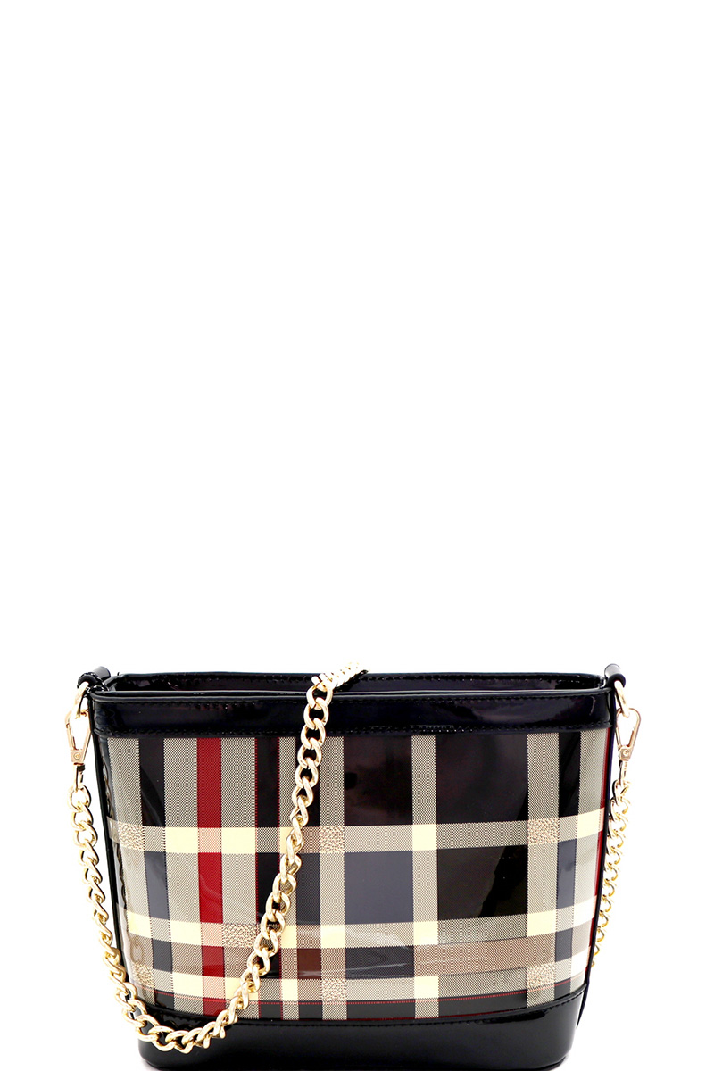 981ad722e817e BGZ6931-P BLACK Patent Plaid Checker Print Chain Cross Body Shoulder Bag