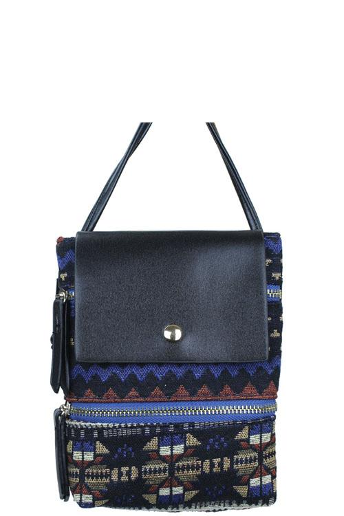 BH1182T BLUE Trendy Jacquard Fabric Fashion Cross Body Bag