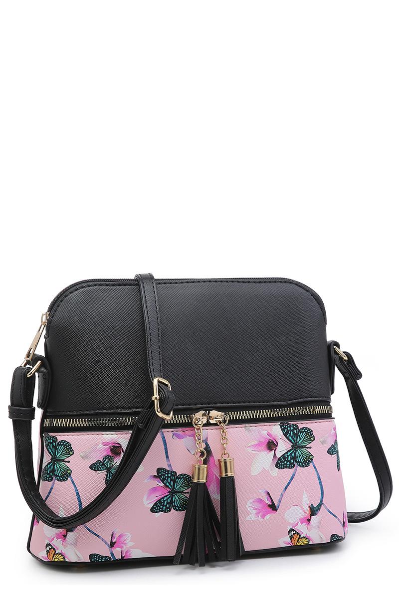 Flower Butterfly Colorblock Tassel Zip Pocket Dome Crossbody Bag Satchel Purse