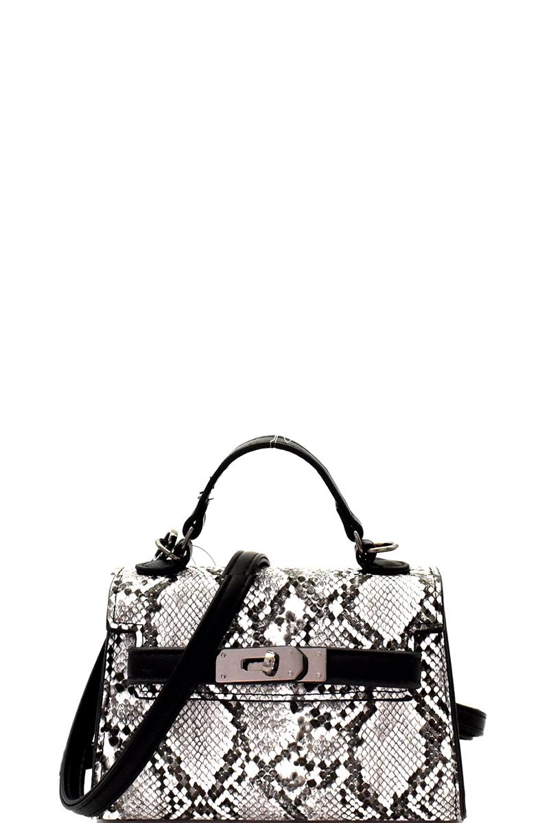 Bpc6465 R Black Snake Print Belted Small Satchel Shoulder Bag