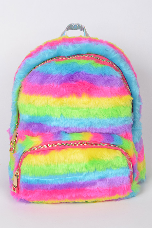 0c8deb481497 BPP6728-R MULTICOLOR2 Furry Rainbow Backpack