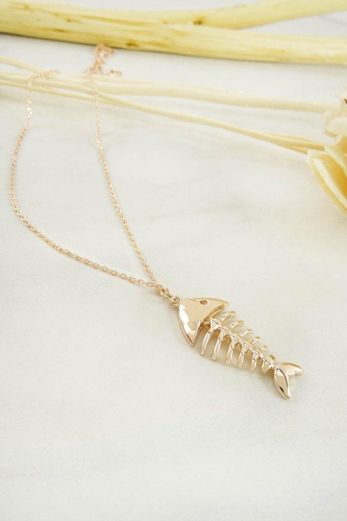 C130141114 gold fish bone necklace for Fish skeleton necklace