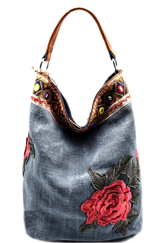 JF014P-ZT BLUE Flower And Ethnic Embroidery Linen Hobo