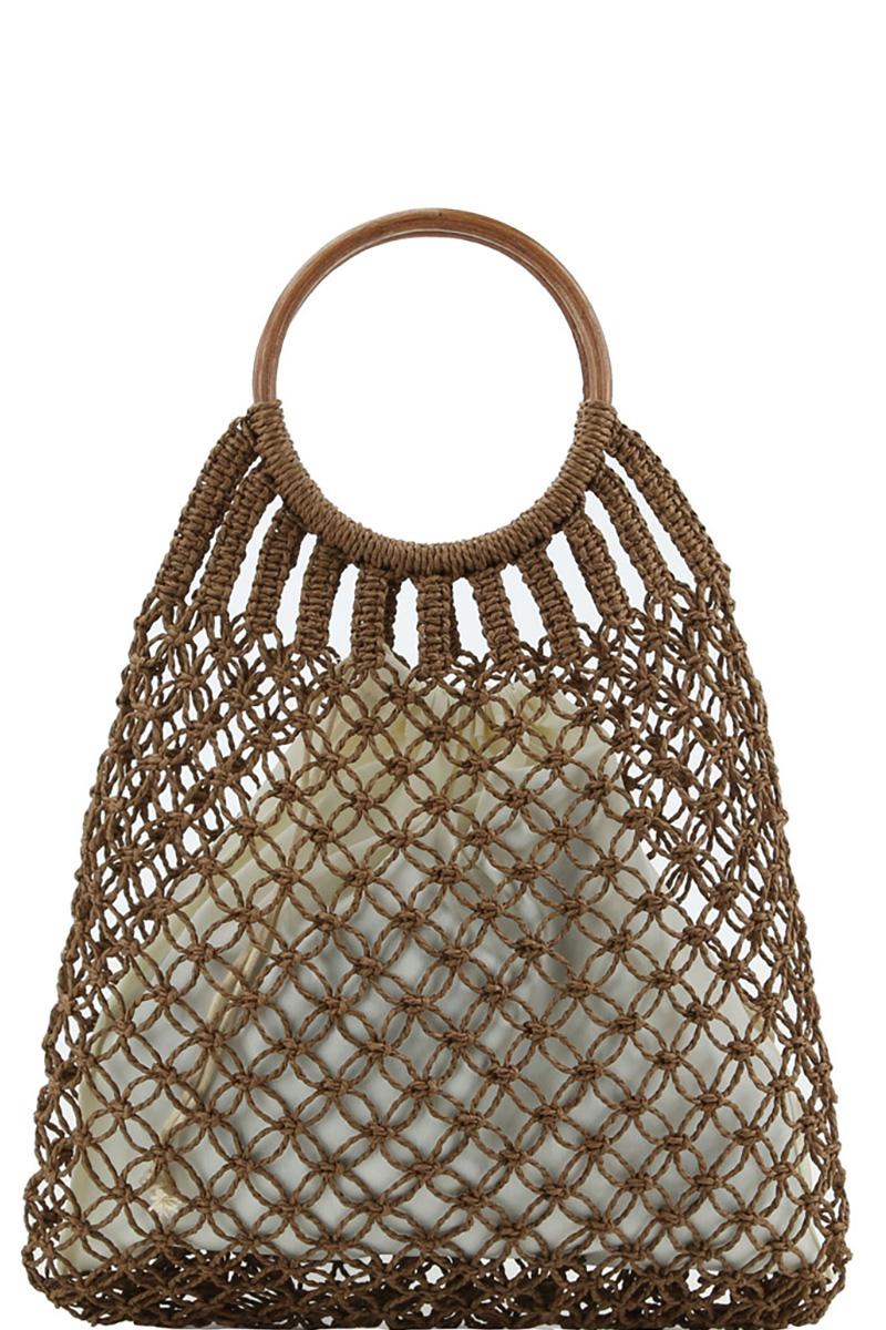 Round Bamboo Handle Straw Crochet Net 2 in 1 Hobo Bag