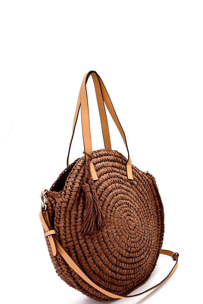 Ctyw0003 P Brown Circled Patter Straw Tassel Round Tote