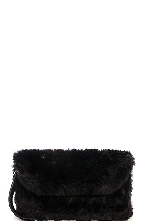 73f4aa811482 D2601N BLACK Cute Warm Fur Evening Clutch with Two Straps