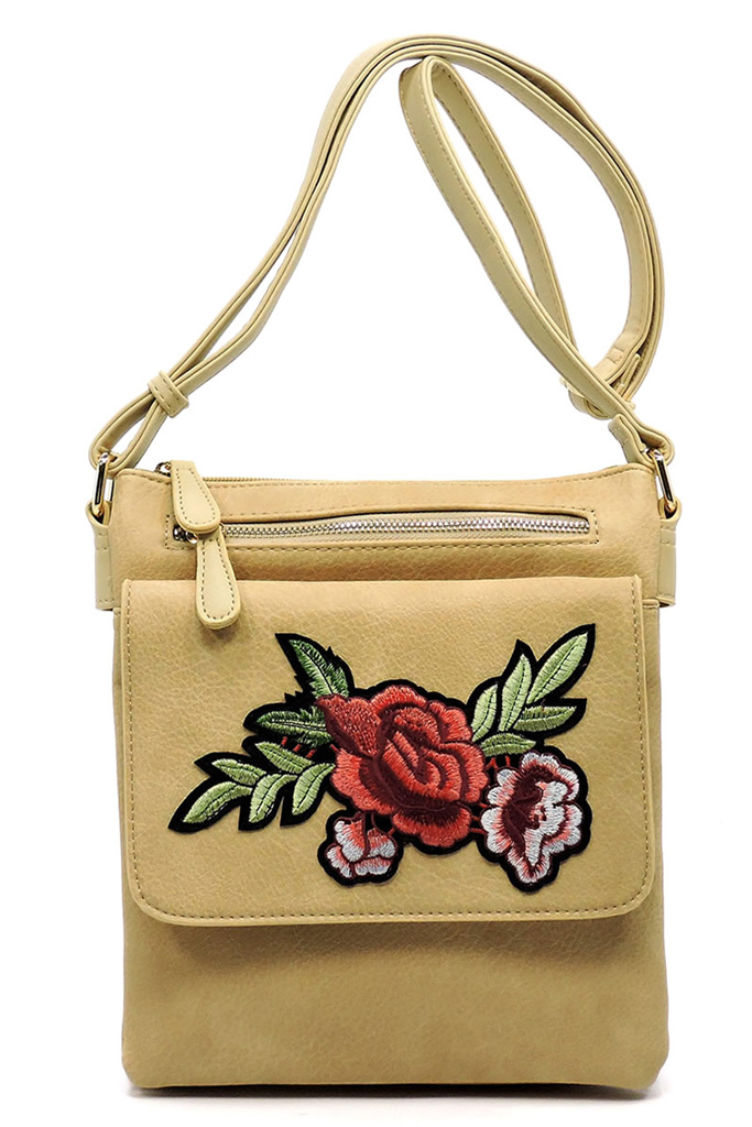 EB1442Z Beige Embroidered Flower Crossbody Bag