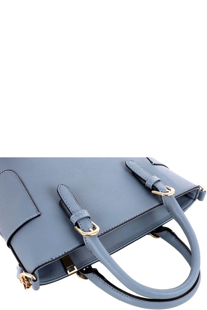 Side Pocket Accent Belted PU Leather 2-Way Medium Satchel Bag