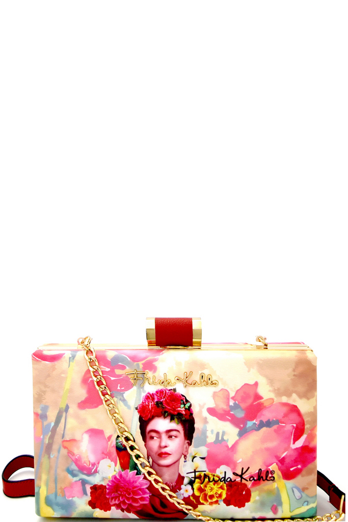 FK101P RED Authentic Frida Kahlo with Parrot in Flowers Frame Hard ...