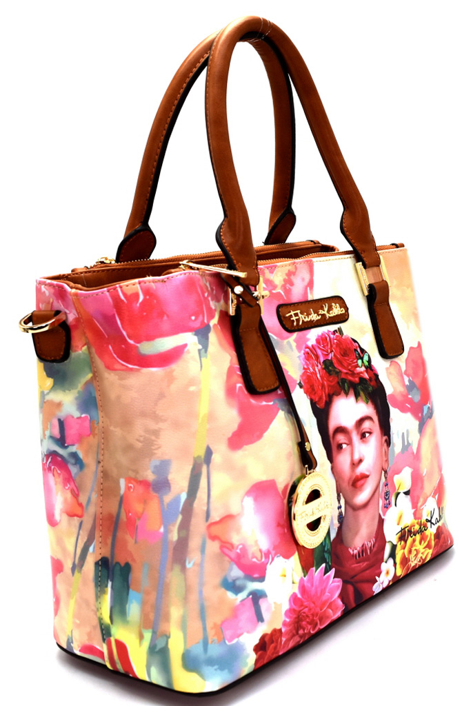 Fk905p Red Authentic Frida Kahlo With Parrot In Flowers 3