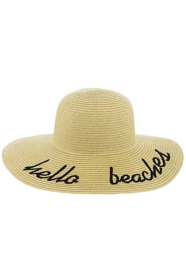H7864 Tan Hello Beaches Embroidered Floppy Hat