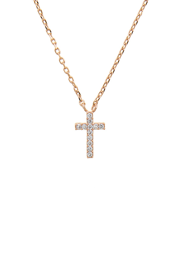 HN5039C3 ROSE GOLD CZ MINI CROSS PENDANT NECKLACE