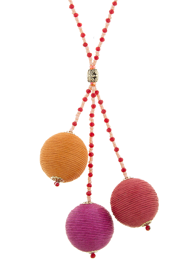 HN5539C5 FUCHSIA THREAD WRAPPED BALL BEADED NECKLACE