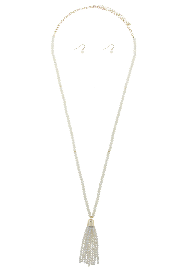 HNE295C4 BABY PINK LONG FACETED BEAD TASSEL AND CHAIN NECKLACE SET