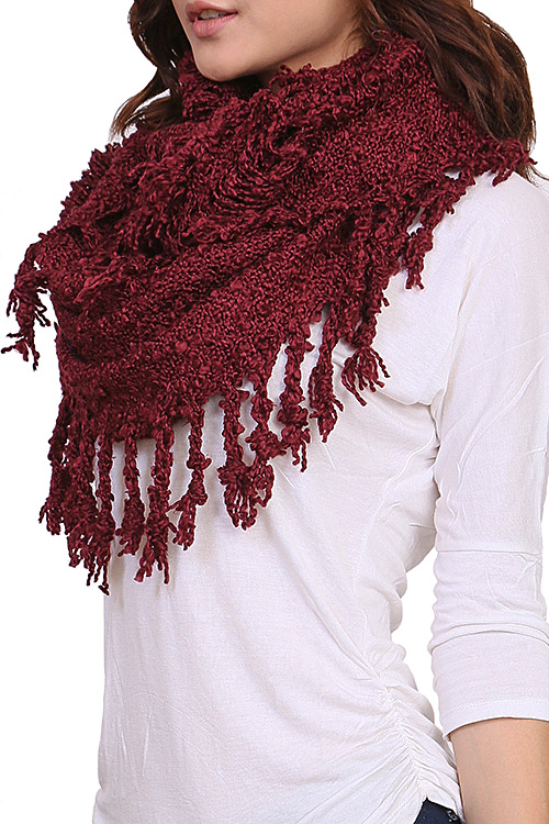 Knitting Pattern Scarf With Fringe : HS3688 BLACK BUBBLE KNIT FRINGED INFINITY SCARF