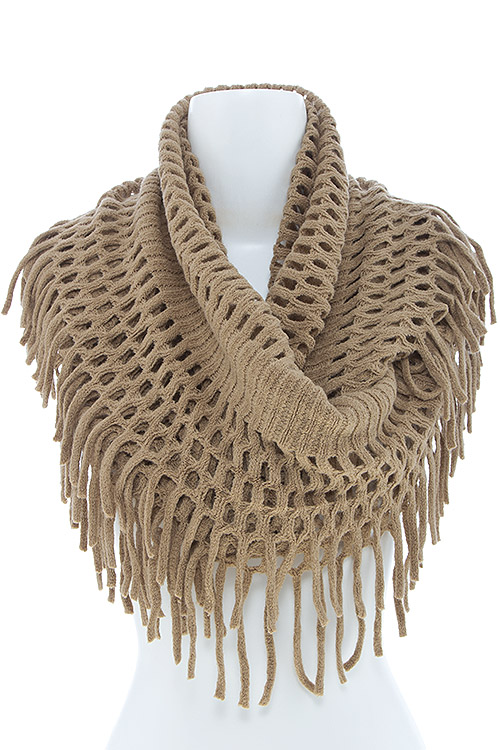 Hsf1415 Rust Woven Knit Fringed Infinity Scarf