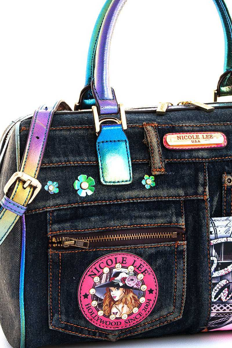 b5cdde739c44 BJS13053-N Nicole Lee Vivian Print Denim Boston Bag with Long Strap