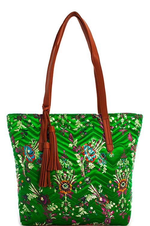JY0155N Designer Oriental Pattern Embroidered Tote Bag