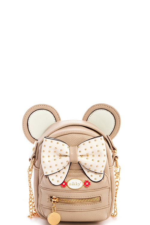 k10003n beige nicole lee nikky river mouse ear chain strap shoulder bag