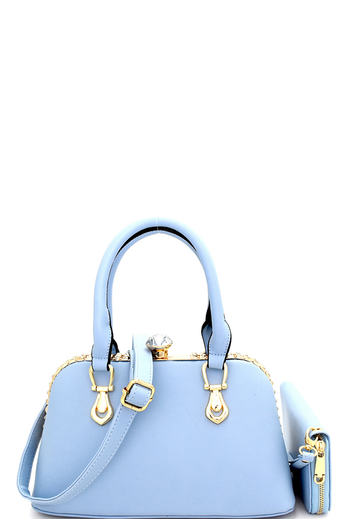 K2-6448W-P BLUE Rhinestone Jewel-Top Frame Satchel Wallet SET