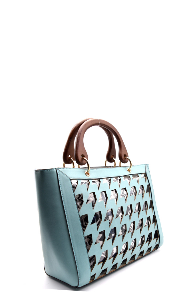 L0106 Pn Beige Houndstooth Laser Cut 2 In 1 Clear Bag With Wooden Handle