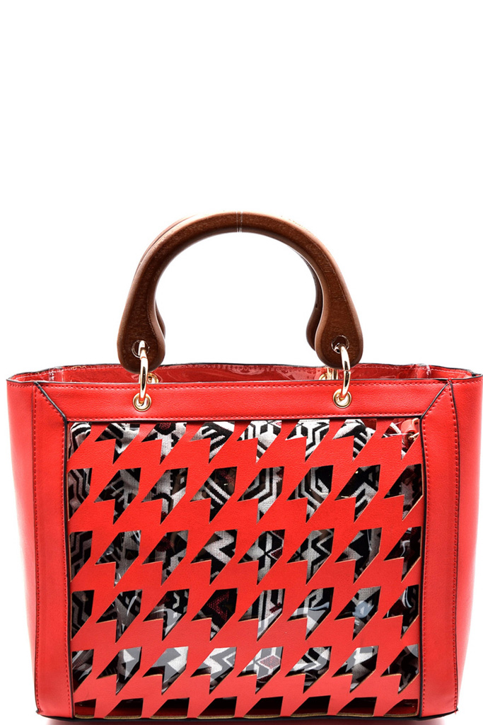 L0106 Pn Watermelon Houndstooth Laser Cut 2 In 1 Clear Bag With