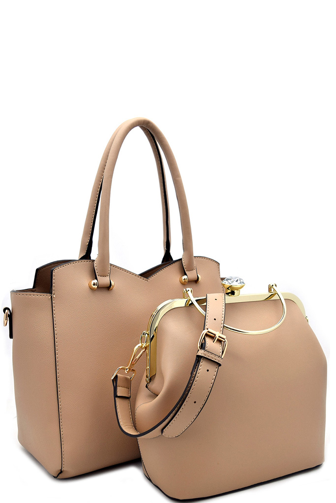 L0929-S TAN Stone Accent Bag In Bag Tote And Satchel Set