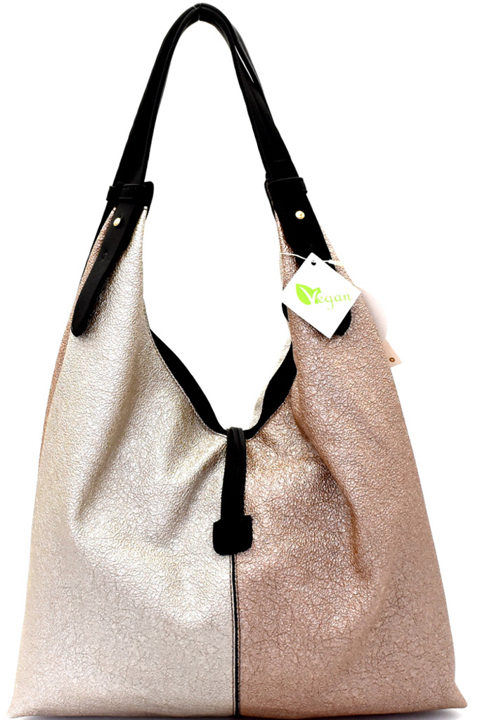 Ld1081wp Rose Gold String Accent Metallic Color Block Hobo