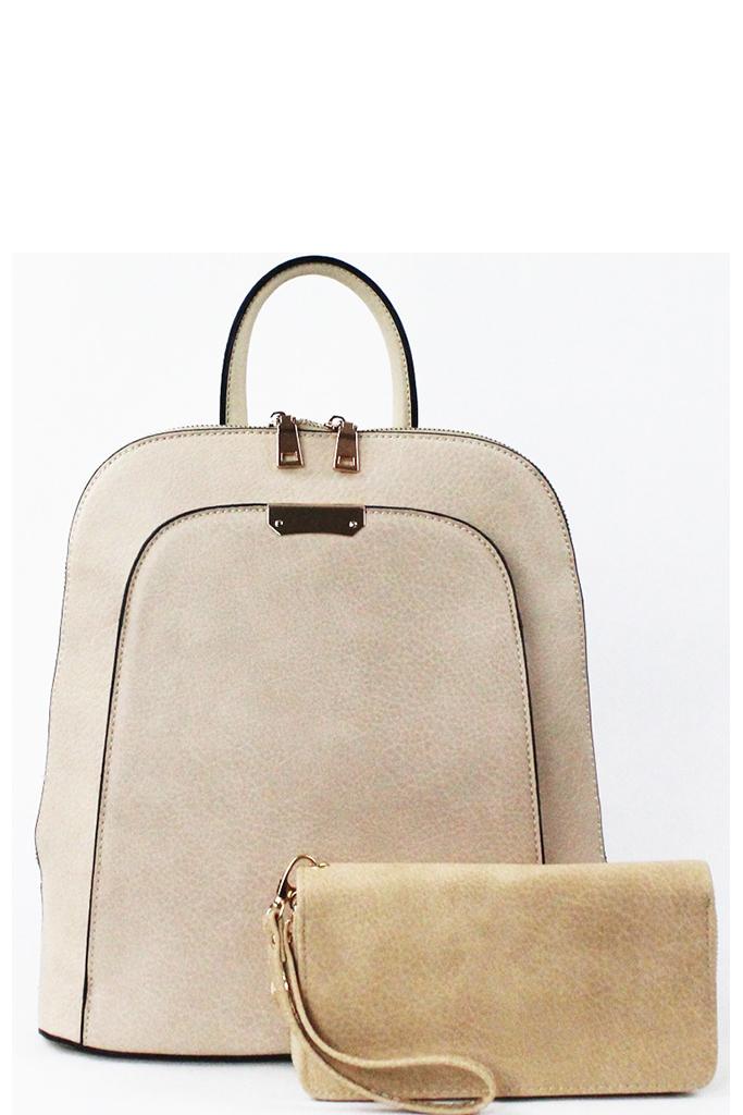LF17193-T BEIGE Trendy 2 In 1 Fashion Backpack Set 4d3194626b7be