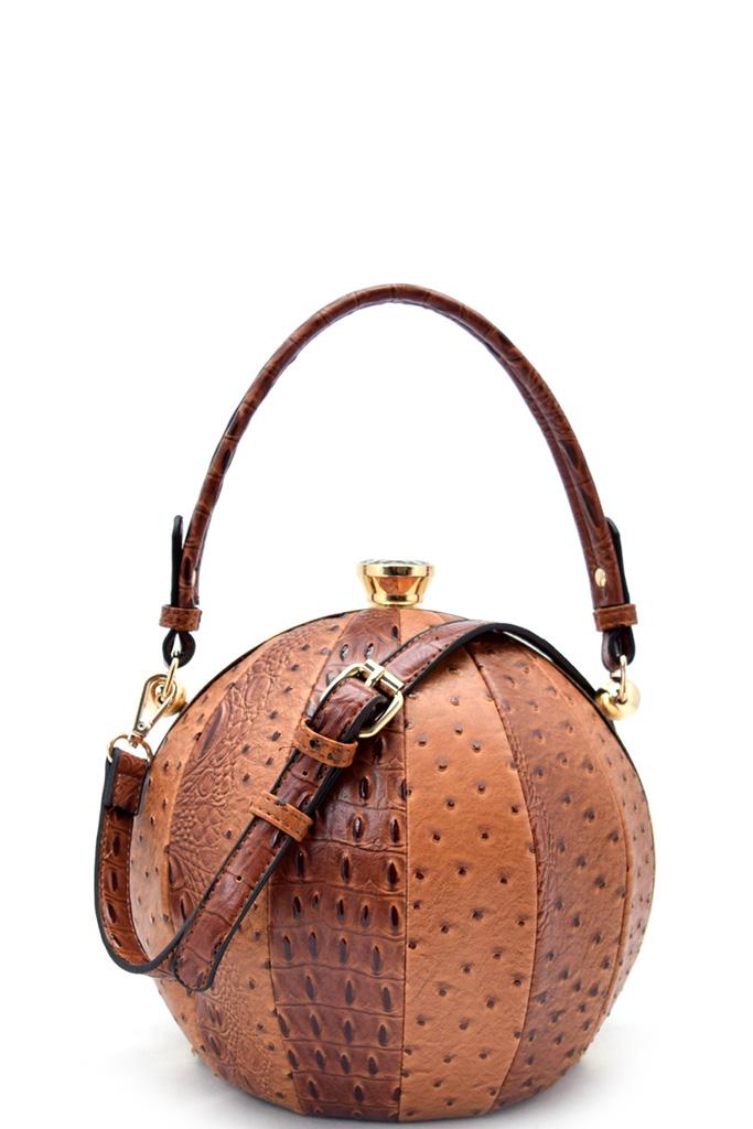 Lhu0791 Szn Brown Unique Ball Shape Fashion Bag